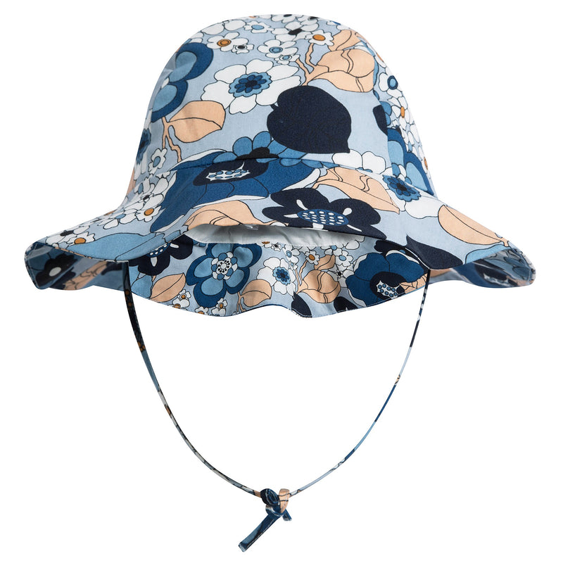 Girls Marine Blue Cotton Hat