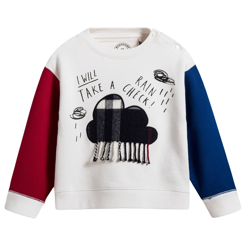 Baby  Boys  White  鈥淔laky clouds鈥?  Cotton   Sweatshirt