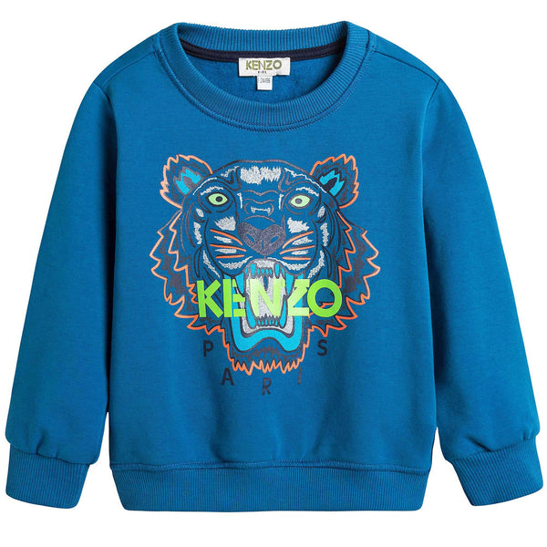 Boys Middle Blue Embroidered Tiger Head Cotton Sweatshirt - CÉMAROSE | Children's Fashion Store - 1