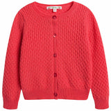 Girls Red Cashmere Cardigan - CÉMAROSE | Children's Fashion Store - 1
