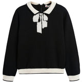 Girls Black & White Wool Sweater - CÉMAROSE | Children's Fashion Store - 1