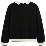 Girls Black & White Wool Sweater - CÉMAROSE | Children's Fashion Store - 2