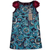 Girls Blue Brocade dress