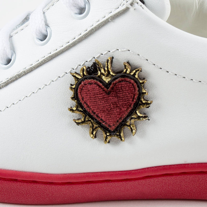 "Girls White Leather ""Love"" Shoes"