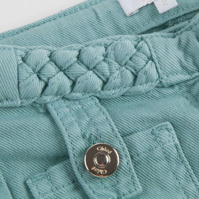 Girls Green Braided Trousers