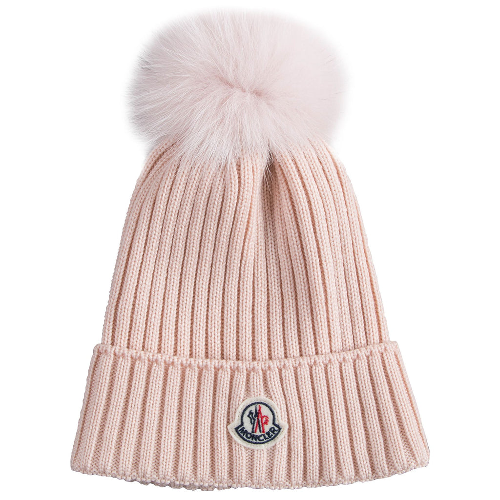 f68fa9ba072cb ... new style moncler. girls pink berretto virgin wool hats 9b456 ae95f  discount code for moncler cable knit beanie hat w fur pompom ...
