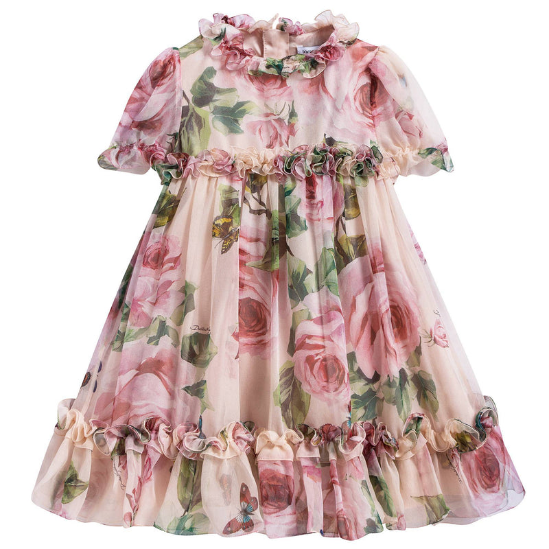 Baby Girls Rose Butterfly Printing Dress