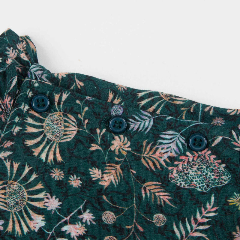 Girls Dark Green Printed Blouse
