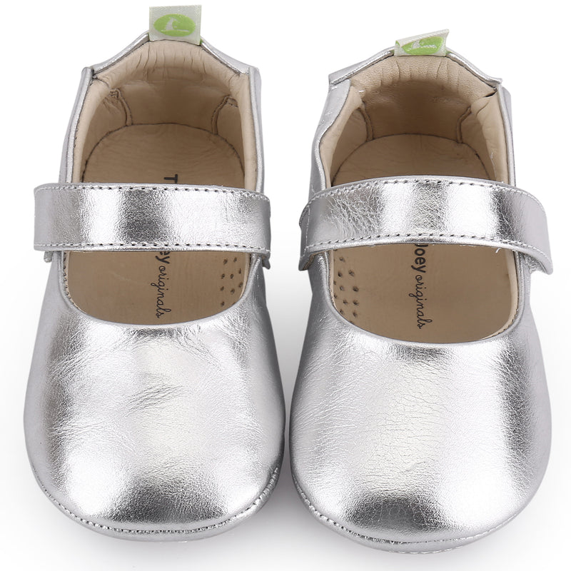 Baby Girls Silver Leather Shoes