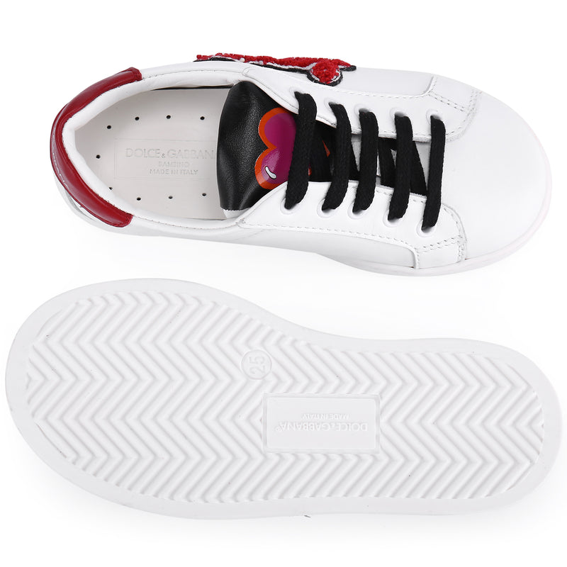 Girls White Trainers With Red Hearts