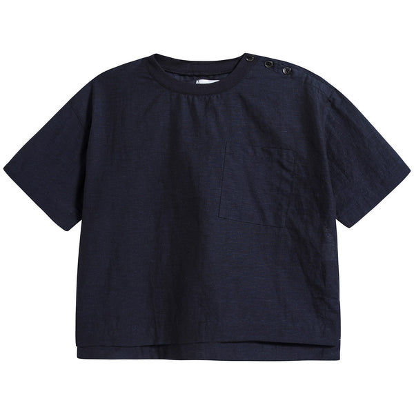Girls Navy Pocket T-shirt