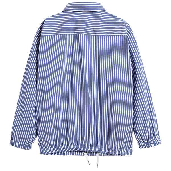 Girls Blue Striped Cotton Shirt