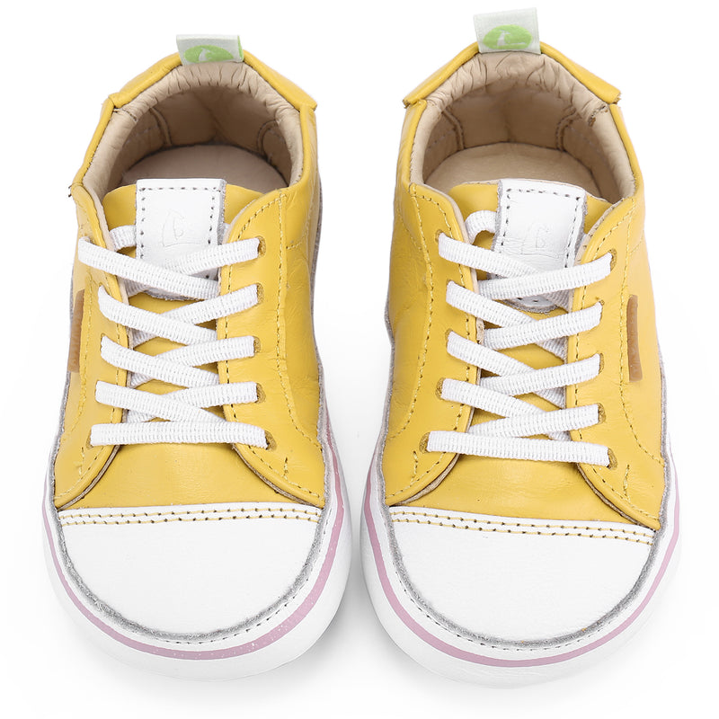 Baby Girls Yellow 'Funky' Leather Trainers