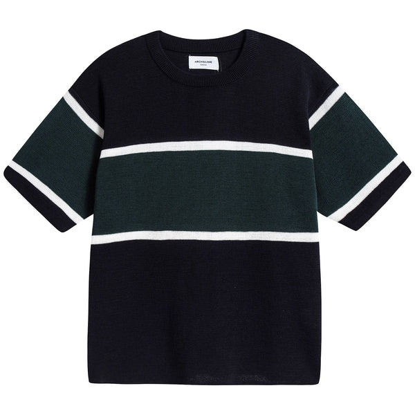 Girls Navy Knit T-shirt