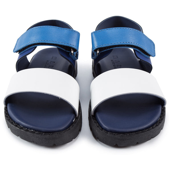 Boys White & Blue Leather Shoes