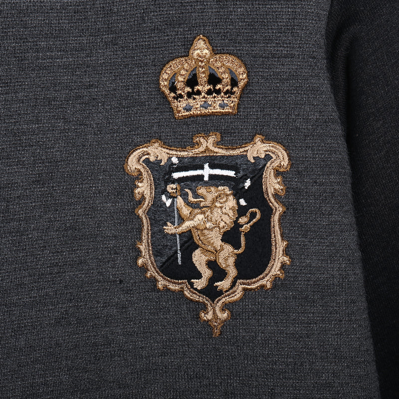 Boys Grey Crown Printed Sweatshirt