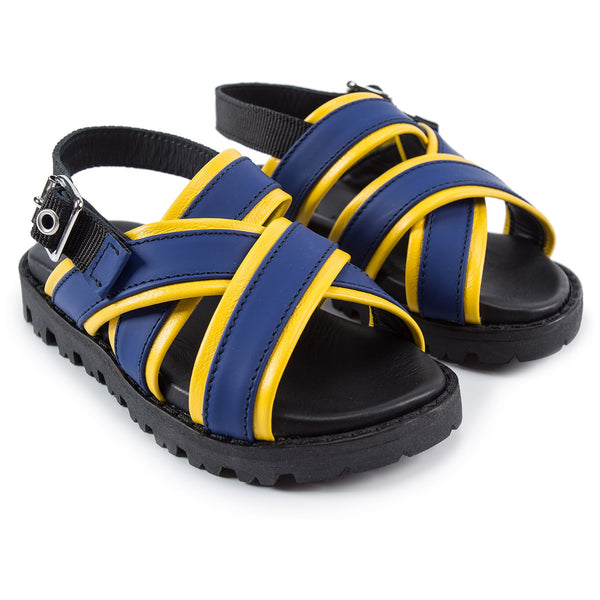 Boys Blue & Yellow Leather Sandals
