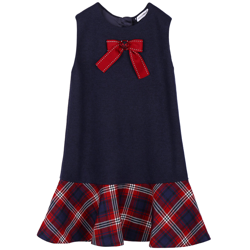 Girls Navy Blue Dress With Bow