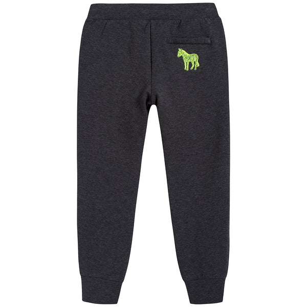 Boys Marl Grey Anthracite Cotton Trousers