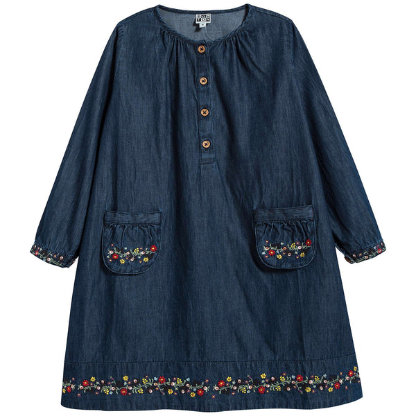 Girls Denim Blue Cotton Dress