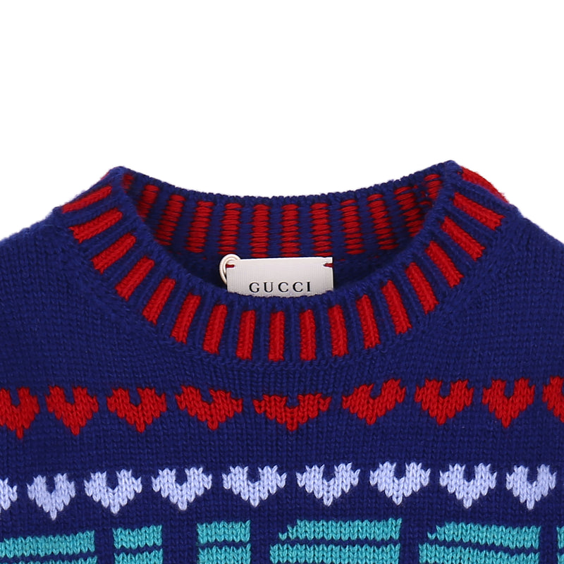 Girls Blue Logo Patterned Sweater