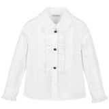 Girls White Cotton Shirt
