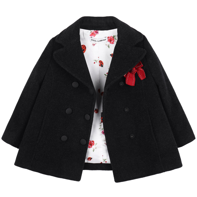 Girls Dark Grey Wool Coat With Red Bow