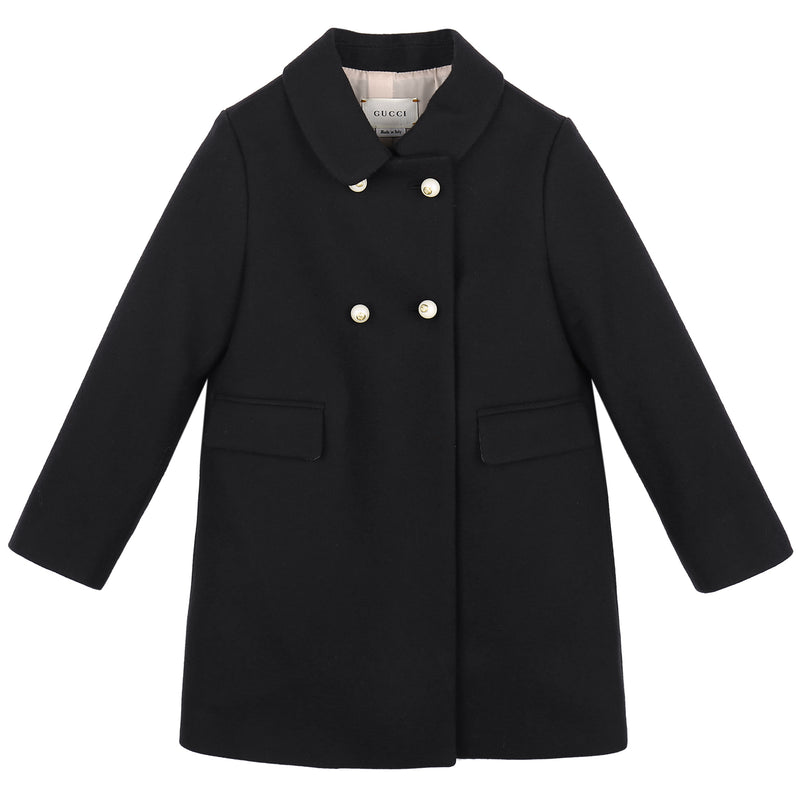 Baby Girls Black Wool Coat