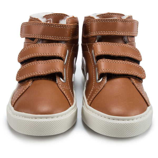 Boys & Girls Brown Leather Velcro High Top Shoes