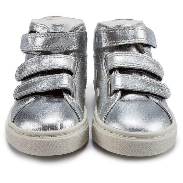 Baby Silver Leather Velcro With White