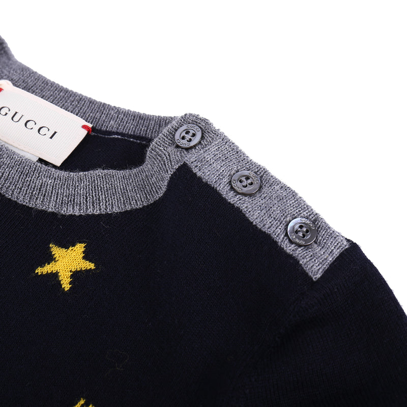 Baby Boys Navy Blue Wool Bees Sweater