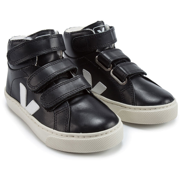 Boys Black Leather Velcro High Top Shoes