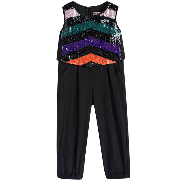 Girls Black Paillette Rompers