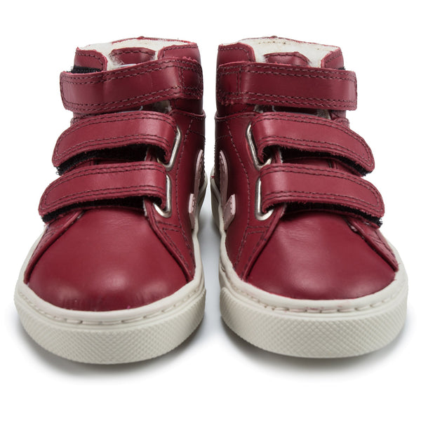 Baby Red Leather Velcro High Top Shoes