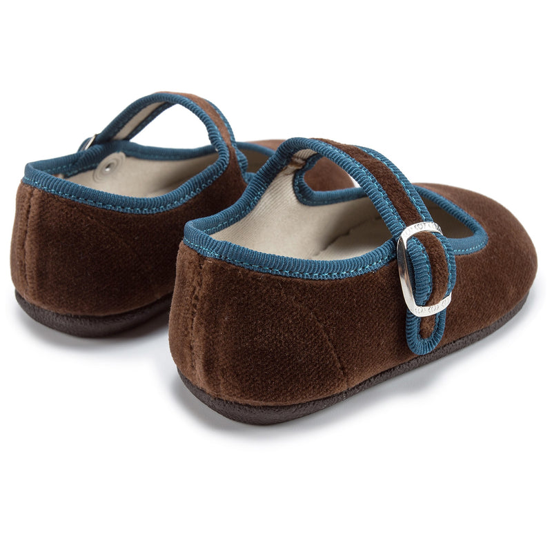 Baby Girls Brown Cotton Shoes