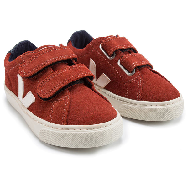 Girls & Boys Red Leather Velcro With White