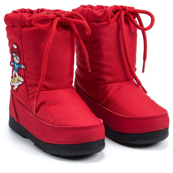 Girls Red Printed Snow Boots