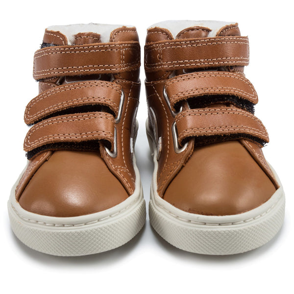 Baby Brown Leather Velcro High Top Shoes