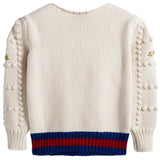 Girls White Knitted Trims Cotton Sweater