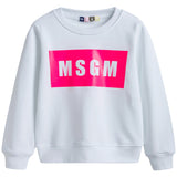 Girls White Cotton Logo Sweatshirt