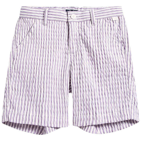 Boys Lilac & White Stripe Cotton Shorts