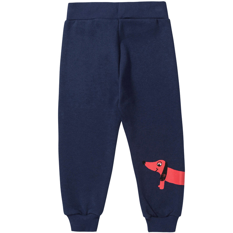 Girls Navy Blue Organic Cotton 鈥淒og鈥?Trousers