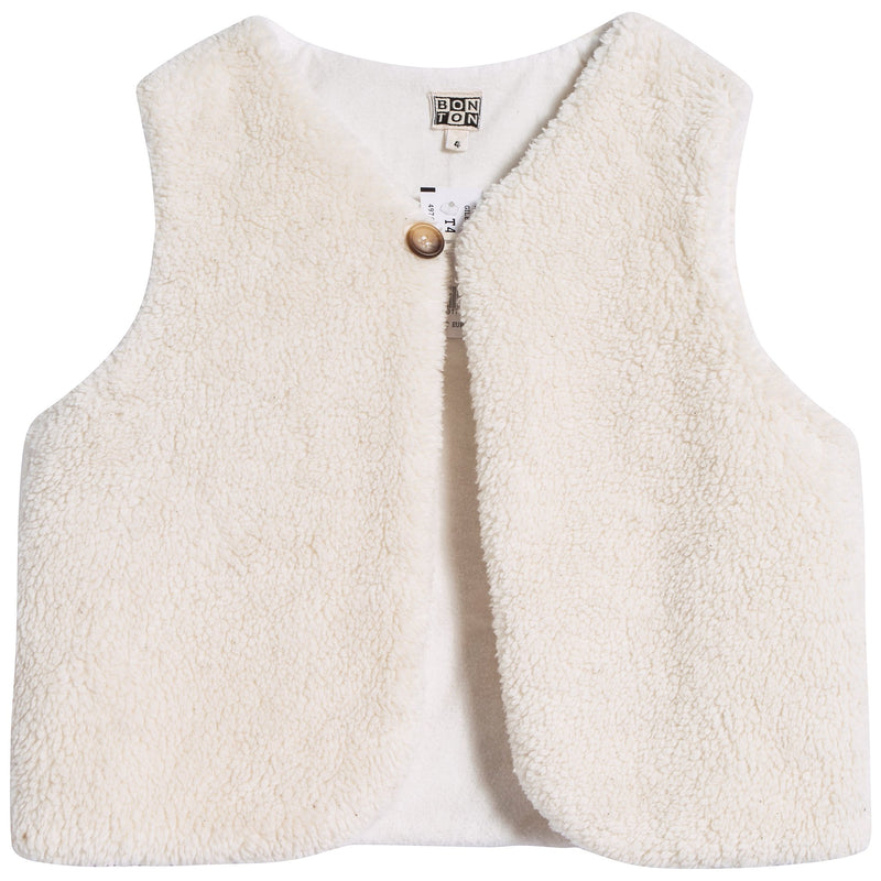 Girls Off White Cotton Gilet