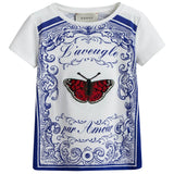 Girls White & Blue Cotton T-Shirt