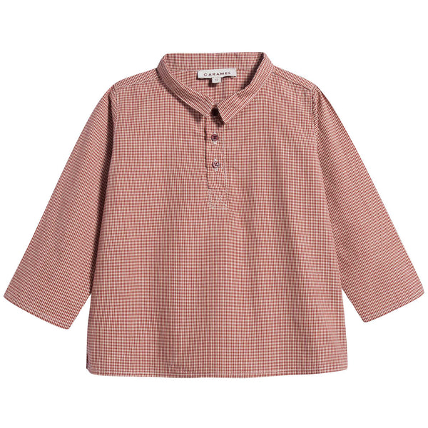 Baby Girls Red Micro Check Cotton Blouse
