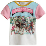 Baby Girls White & Pink Fancy Printed Trims T-Shirt