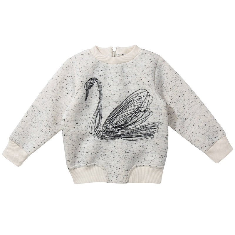"Girls Beige ""Swan"" Sweater"