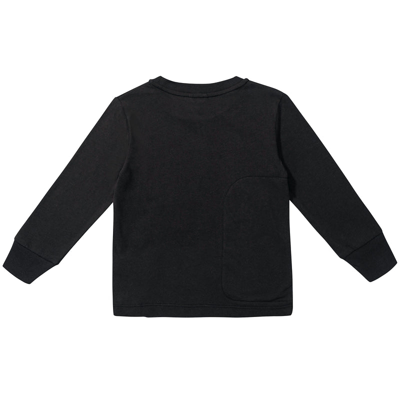 Boys Black with Patches Cotton T-shirt