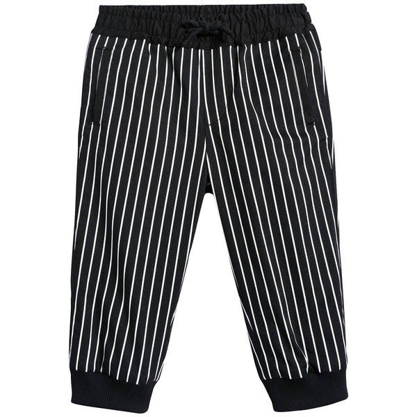 Baby Boys Black Striped Cotton Trousers
