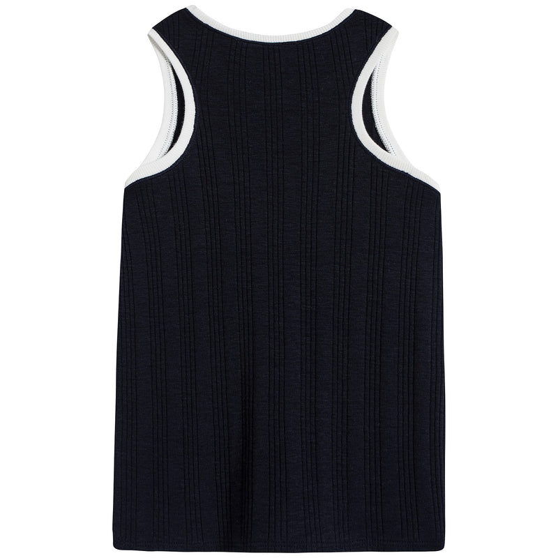 Girls Navy Cotton Vest